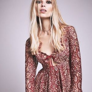For love and lemons charlie mini dress red m NWT